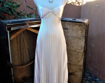 1980s Satiny Beige Full Length Pleated Nightgown Hollywood Glam Lingerie Size S