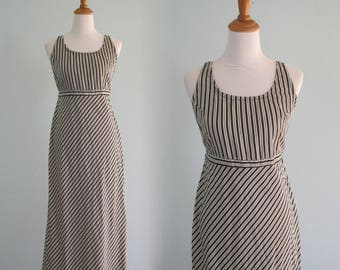 Chic 90s Black and White Striped Sundress - Vintage Minimalist Striped Dress - Vintage 1990s Sundress M