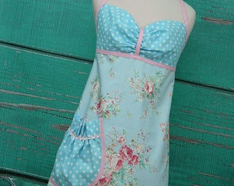 Women's Apron - Shabby Chic Apron - Blue and Pink