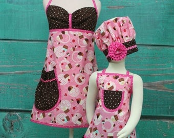 Mother/Daughter Matching Aprons - Pink & Brown Cupcake