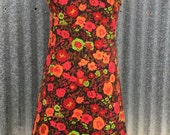 1960s 1970s Vintage Sheath Dress - Shift Dress - Colorful Floral Pattern - Pink Orange Green Red Flowers - Casual Easy Wear - 38 Bust
