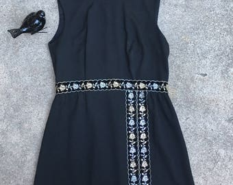 1970s Black Maxi Dress - Hostess Dress - Silver and Gold Trim - Hosting Bridge or At Home Party in 70s Style - Plus Size Vintage - 42 Bust