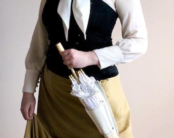 WHITE Steampunk Parasol Holster Set , Steampunk Wedding , Alternative Wedding , Steampunk Costume , Holder , Fan , Parasol , Lace