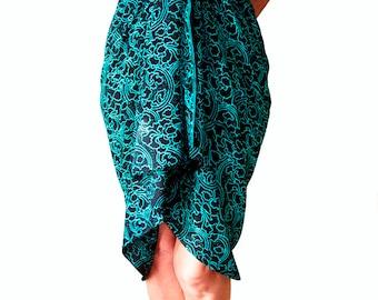 PLUS SIZE Clothing Sarong Dress or Skirt Extra Long Beach Sarong Batik Pareo Wrap - Black & Teal Sarong Cover Up - Plus Size Swimwear