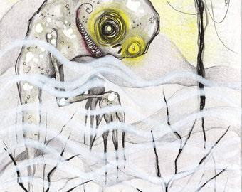 Swamp Creature Mist Monster Halloween Costume Original Mixed Media Illustration Drawlloween 2016