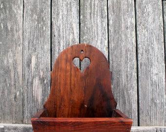 Charming Handmade Wood Wall Hanging Box With Heart Cutout
