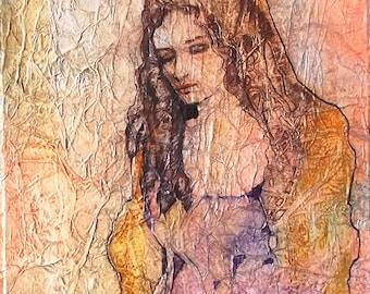 ZEN Inspired Gaia Goddess Painting Watercolor On Tissue Fantasy PORTRAIT Lynne French