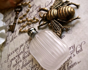 andromeda frost - natural perfume/cologne oil in frosted bottle w/chain and skeleton key- pick your poison today - over 60 aroma options