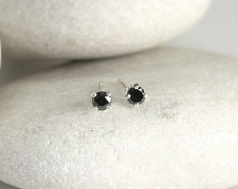 Tiny Black Diamond Earrings with Sterling Silver Posts, second hole diamond stud earrings