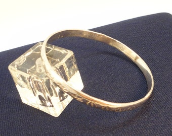 60s  Etched 925 Silver Mexican Bangle Vintage
