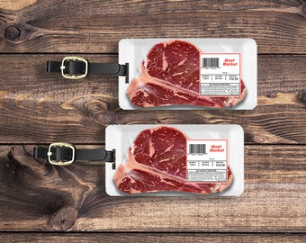 Personalized Luggage Tags Meat Market T-bone Steak Package Funny Metal Tag Single Tag or Set Available