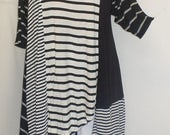Plus Size Top, Asymmetric Tunic Top, Women Tunic, Coco and Juan, Multi Stripe #4 Knit Size 1 (fits 1X,2X)  Bust 50 inches