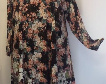Coco and Juan, Plus Size Tunic, Lagenlook, Black, Vintage Floral, Angel, Womens Tunic Top, Size 2 (fits 3X,4X)   Bust 60 inches