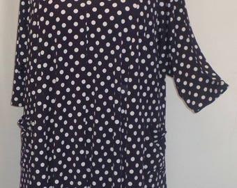Coco and Juan, Lagenlook,  Plus Size Tunic Top, Navy Blue, Polka Dot, Traveler Knit, Trapeze Tunic,  Size 2 (fits 3X/4X)  Bust 60 inches