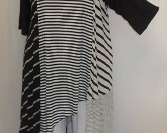 Plus Size Top, Asymmetric Tunic Top, Women Tunic, Coco and Juan, Multi Stripe #2 Knit Size 1 (fits 1X,2X)  Bust 50 inches