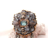 grey hematite brooch | oversized gold grey brooch | bead embroidered broche | grey agate and swarovski crystal | Victorian style jewelry