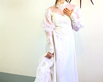 Vintage 70s Victorian White Wedding Dress Antique Lace Sheer Mesh High Collar Puff Sleeve Pearl Beads 1970s Long Ruffle Train Bridal Gown