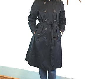 Vintage Trench coat, BANANA REPUBLIC coat, Black trench coat, Belted trench coat, Womens trench coat, classic trench coat, vintage 90s, Sz L