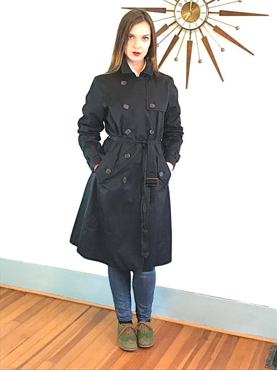 Vintage 90s Black Trench Coat by Banana Republic Long Ladies Rain Jacket Belt Buckle Flap Belted Women's s Overcoats