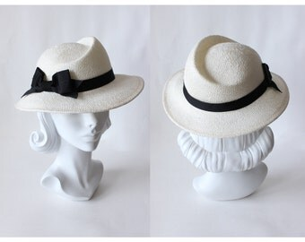 Vintage Asymmetrical Crown Straw Fedora Hat