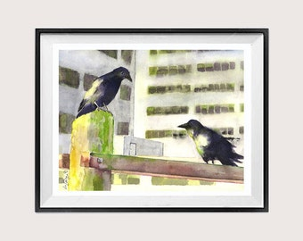 Raven Crow Wall Art Decor  Urban Landscape  Wildlife art Black bird Watercolor Animal Prints  LaBerge Muren Studio