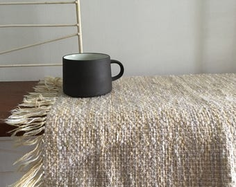 Vintage Hand Woven Wool PlaceMat 2 Weaving Neutral Mid Century 1960s Place Mat