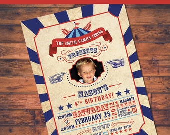 Under the Big Top Circus Birthday Photo Invite (5x7)  - Digital File
