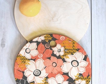 Floral Wood Cutting Board // 3 Sizes // Round, Square, Rectangular // Kitchen Decor // Serving Board // Petals & Pods Design // Bold Floral