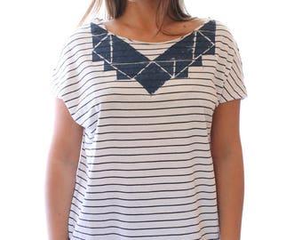 Handmade t shirt, Blue and White striped shirt, hand printed shirt, striped white and blue top