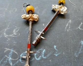 Queen Boudicca's Fenceposts Assemblage Shouldertickler Earrings