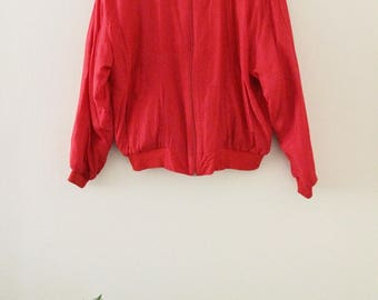 90's Red Silk Bomber Jacket