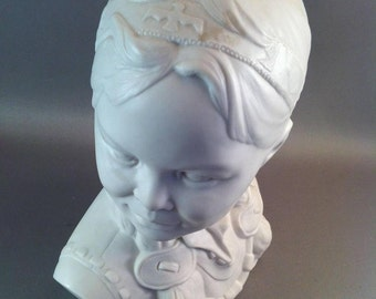 Vintage Parian Ware Bust, Esther Hunt Style Bust,Native American Indian Sculpture, Southwest Style Bust,Indian Girl Bust, *USA ONLY*