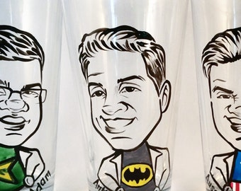 Custom Groomsmen Gifts - Groomsmen Gift - Groomsman Gift - Super Hero Vintage Style - Caricature Pint Glass- Hand Painted Beer Glass