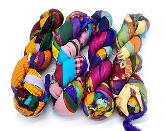 Sari Ribbon Yarn, 4 Bundles, Multi Color,  1 inch Strips, Indian Silk Sari Material
