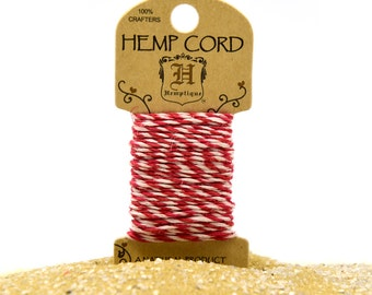 Red Bakers Twine,  20 Feet,   1mm,   Macrame Cord,  Hemp Twine -HC20