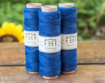 Navy Hemp Cord, 10lb,  0.5mm, Hemp Thread, Navy Twine,  Hemp Thread, String, Navy Blue Jewelry Cord -TW9