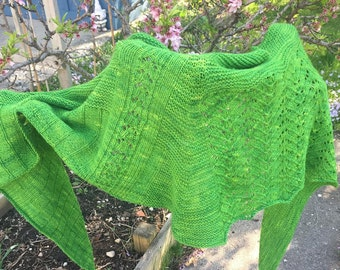 Shawl Knitting Pattern PDF- Farm Field Embrace