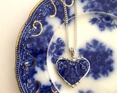 Recycled china heart pendant necklace Antique 1880s English Flow Blue broken china jewelry