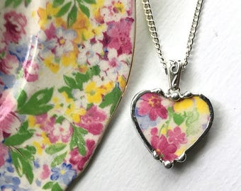 Vintage chintz china, heart pendant necklace, vintage apple blossom chintz, pink floral broken china jewelry - eco-friendly