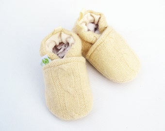 Cashmere Wool Butter Cables / All fabric Soft Sole Baby Shoes / Made to Order / Babies