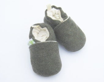 Cashmere Wool in Dark Moss / All fabric Soft Sole Baby Shoes / Made to Order / Babies