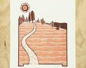 Linocut, Hiking Print, Lino Print, Trail Running, Hiking Art, Northern California, Mountain Wall Art, Adventure Print, Camping Decor