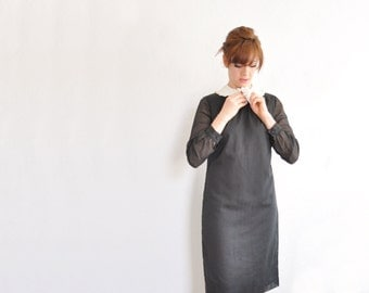 mod Wednesday Addams dress . lace peter pan collar . black white shift .medium .sale
