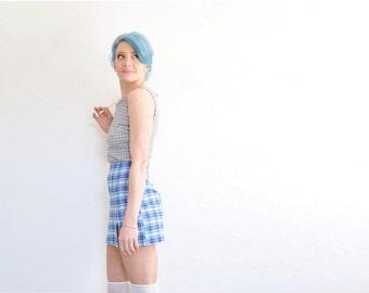 preppy blue plaid 90s skirt . high waist micro mini school girl wear .medium