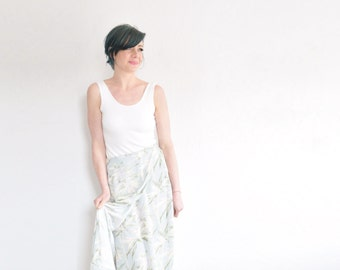 pastel hawaiian print maxi skirt . pale blue tropical high waist .small.medium.large