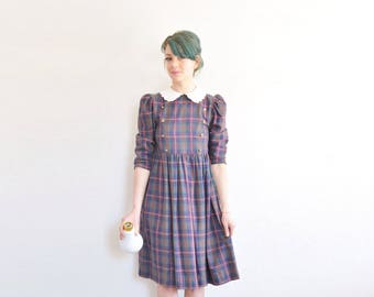 equestrian plaid dolly mini dress . scalloped peter pan collar . button front .small .sale