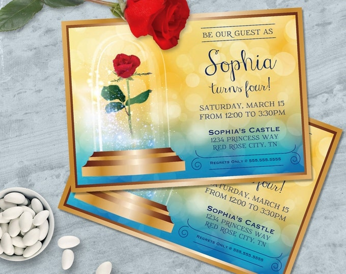 Beauty & the Beast Invitation - Belle Birthday Party, Beauty and the Beast Birthday, Editable Text - DIY INSTANT Download PDF Printable