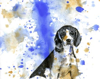 Custom Pet Portrait Painting Custom Dog Portrait Your Favorite Anything in a Splash of Color Dog Beagle Painting Print