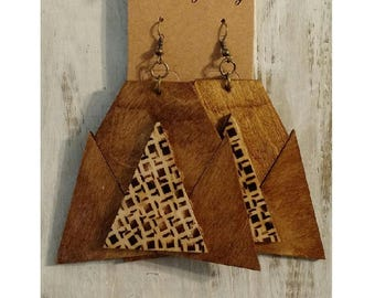 Handmade Wood Earrings for Women Geometric Large Statement Afrocentric Tribal African mPERFEKtion Earrings by Crittique - #mPER93