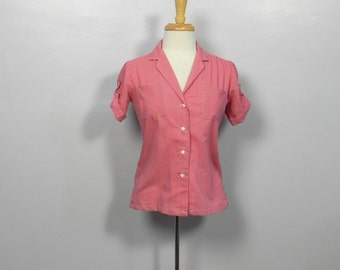 Vintage Top 50s style Red Gingham Top / Rockabilly Ginham Cuff Sleeve Top Sm or Med on sale